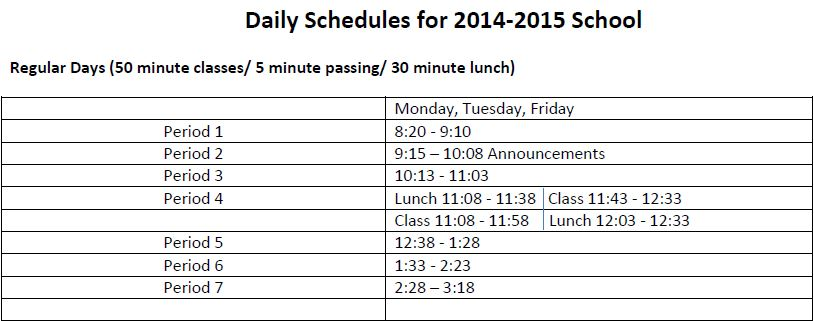 Cotter Moves Back to 7 Period Day
