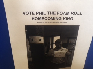 Homecoming King candidate Phil the Foam Roll and Media Center specialist Dave Sobolewski