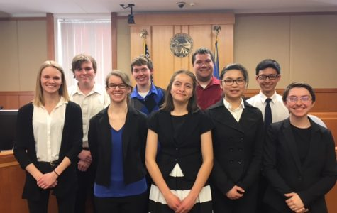 Cotter's Mock Trial team  Back row from left to right: Steve Hadaway, Kaleb Pozanc, Mr. Howard, Harry Yao  Front row left to right: Aubrey Allen, Viva Graff, Fatima Mota, Claire Li, Sammy Knight Not pictured: Rey Haung, Aidan Beckman, Hunter Ramsden