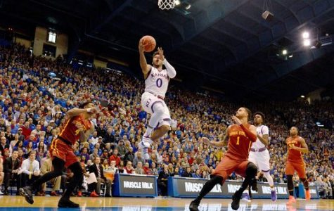 Senior, Frank Mason III doing what he does best at Allen Fieldhouse versus Iowa State.