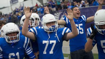 Brian Menke celebrates Cott'er's opening game victory over Medford