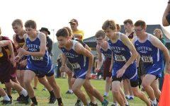 Boys' cross country following team leaders