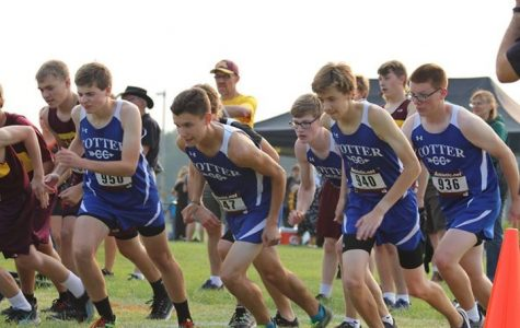 Boys' cross country following team leaders