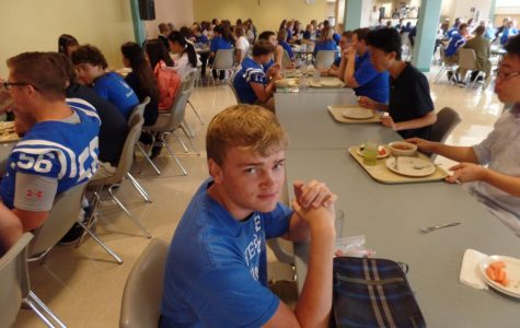 Late lunch senior eats in peace…