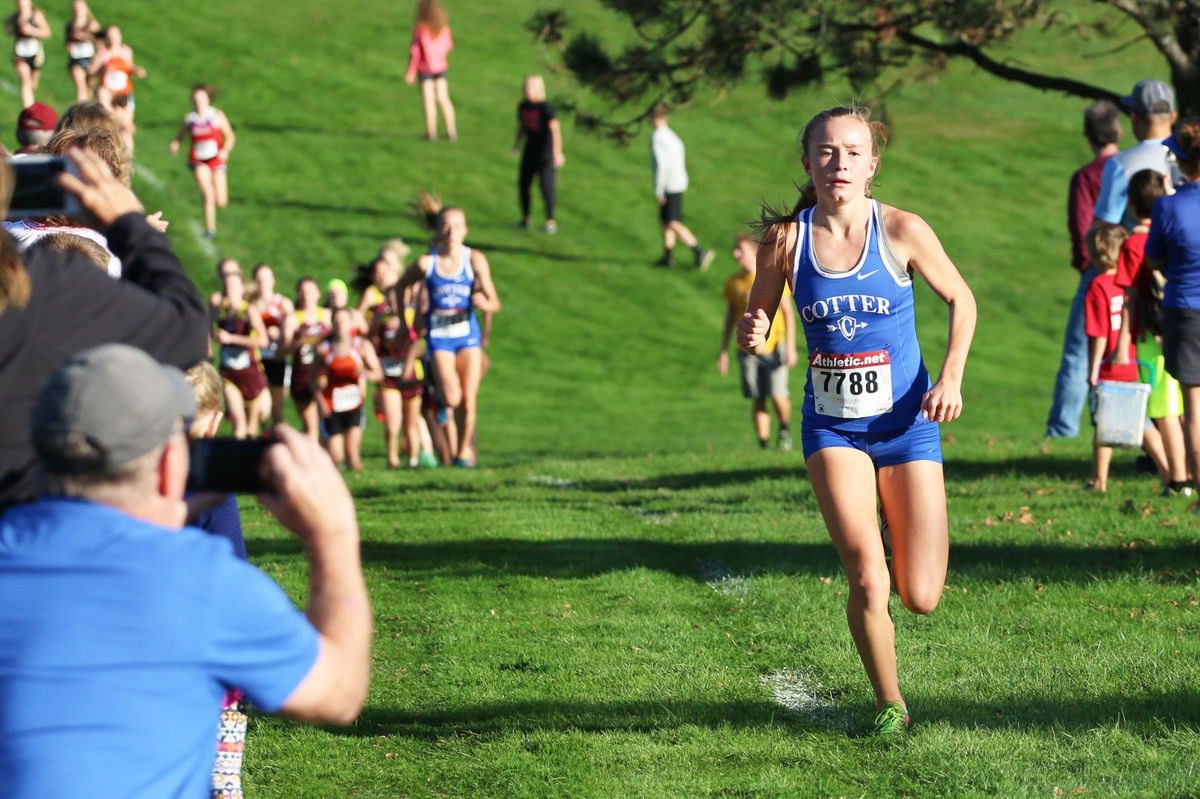 Grace Ping ahead of the pack at the Three Rivers conference meet (photo Andrew Thoreson, Winona Dialy News