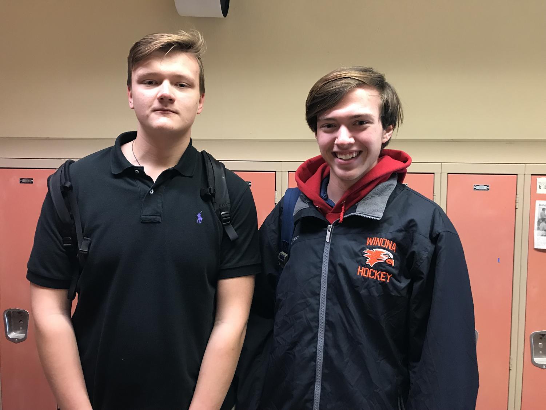 Cotter's two varsity boys hockey players, Ilya Dovhalionok and Austin King-Henke