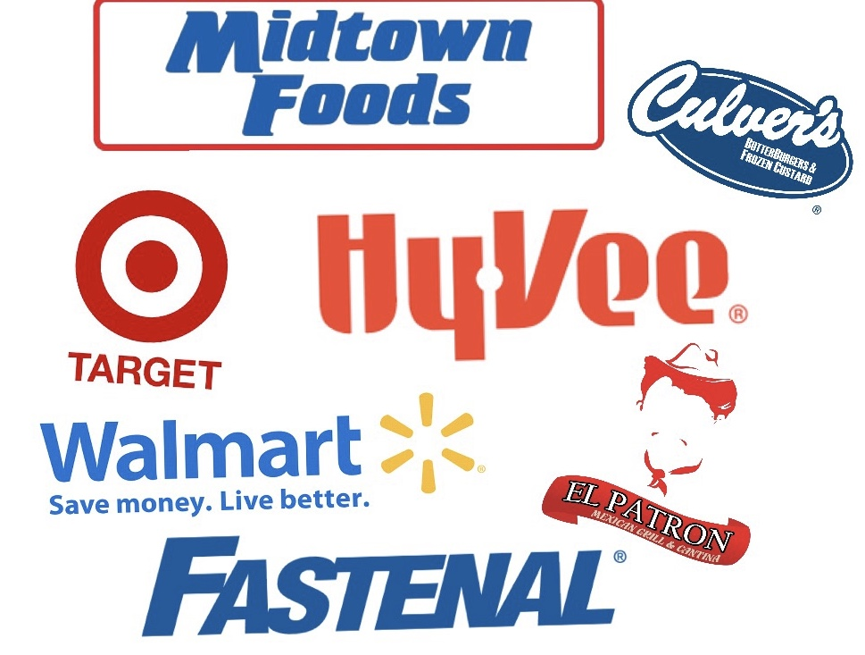 The logos of some of the local businesses where Cotter students are currently working.  Image created by Mercedes Kauphusman
