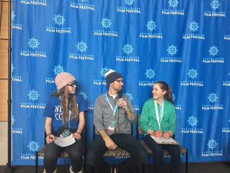 Nick Clausen speaks with Betsy and Hannah at Frozen River Film Festival