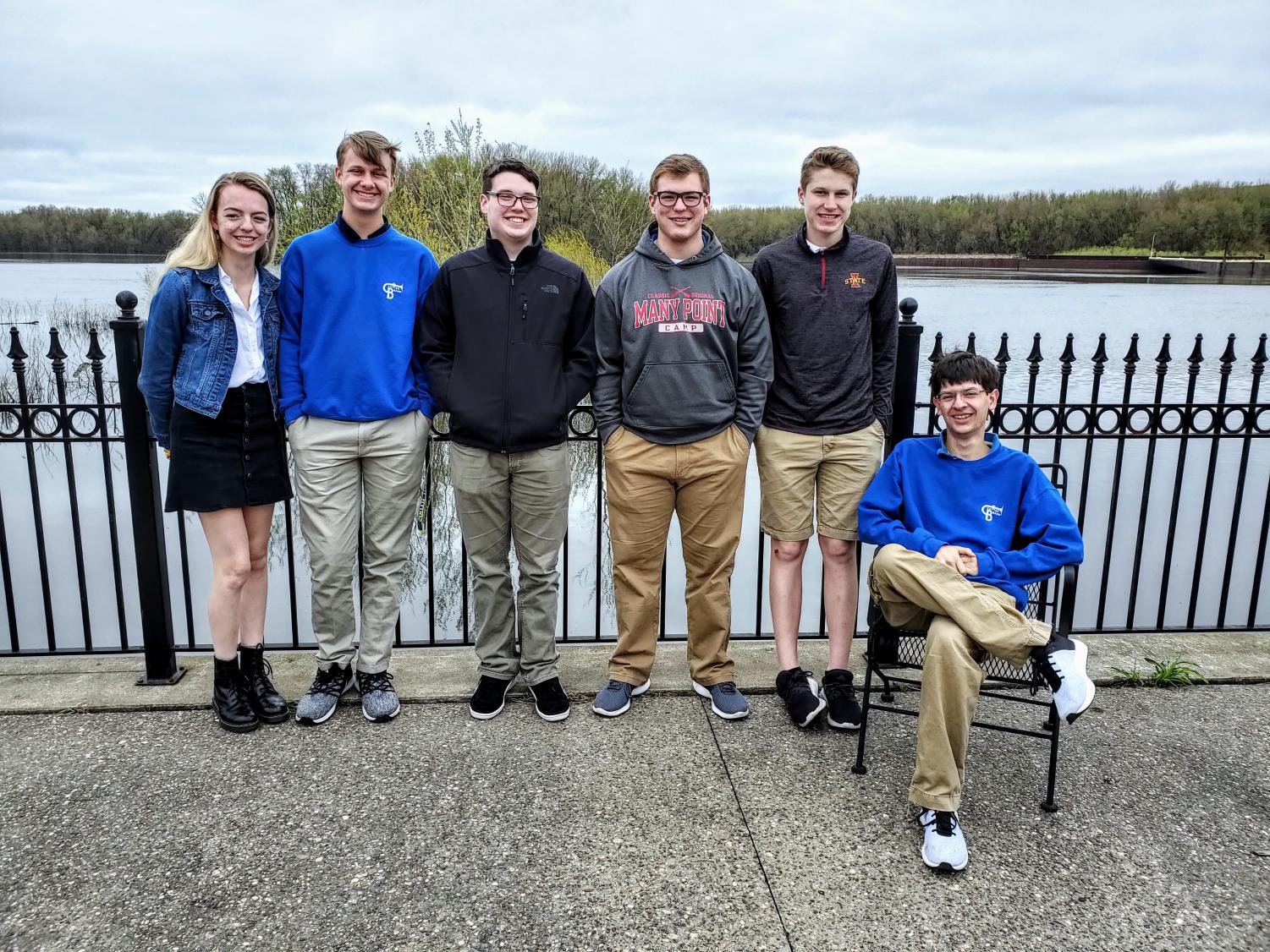 Maddie Mohan, Hunter Ramsden, Jack Walters, Tyler Nachtigal, Joey Renk, and Aidan Carlson on the deck of MMAM overlooking the Mississippi