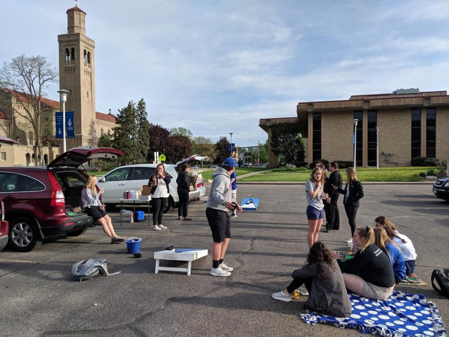 The+2019+senior+class+took+advantage+of+the+time-honored+tradition+of+a+senior+prank.+Students+blocked+off+the+John+Nett+parking+lot+where+only+seniors+could+participate+in+the+fun+festivities%21