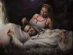 The artist captured himself in this piece of art, going for the idea of the original wounded warrior and woman.
