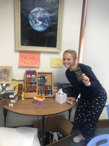 Maren Stewart at the fair trade display in Mrs. H-P