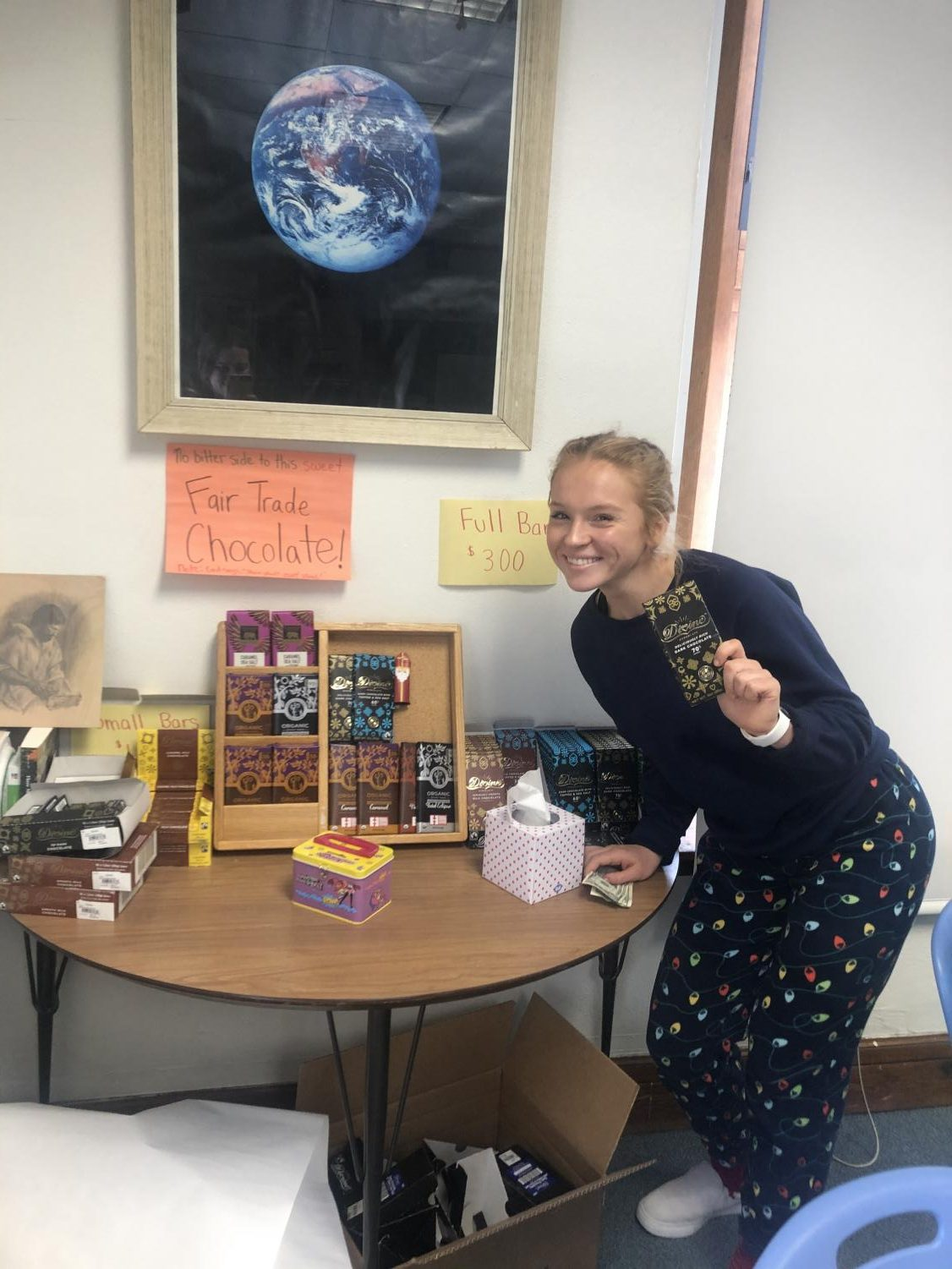 Maren Stewart at the fair trade display in Mrs. H-P's room