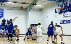 Sera Speltz shoots a free throw for the Cotter Girls basketball team