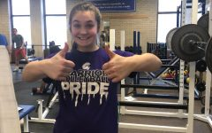 Olivia Blumers in the relative safety of the weight room