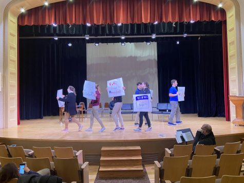 "Rehearsal for the play ""Campaign Capers at Taft High"""