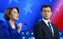 Senator Amy Klobuchar beside Mayor Pete Buttigieg