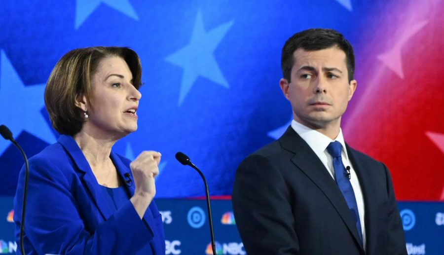 Senator+Amy+Klobuchar+beside+Mayor+Pete+Buttigieg.+Both+dropped+out+of+the+presidential+race+just+days+before+Super+Tuesday.