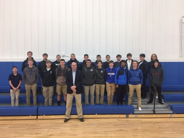 """Pat Mullen and high school boys after the first """"Boys 2 Men"""" meeting in December. 2019"""