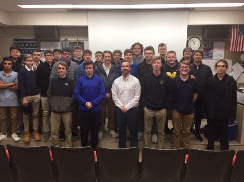Cotter grad. Joe Coron speaks to the Boys to Men group