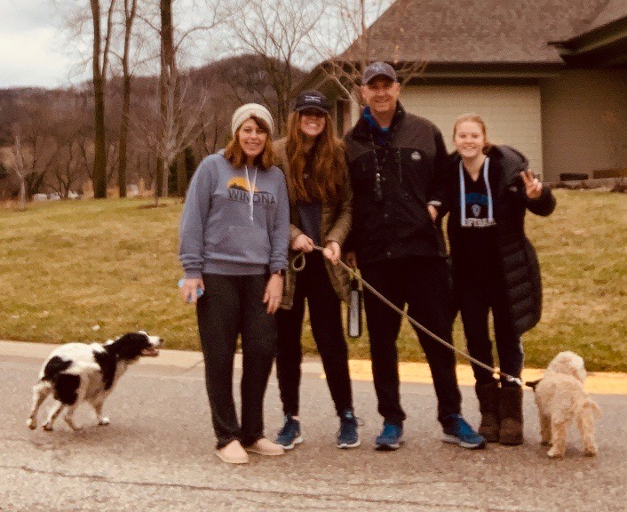 The Miller family enjoys a walk during the 2020 shelter in place quarantine