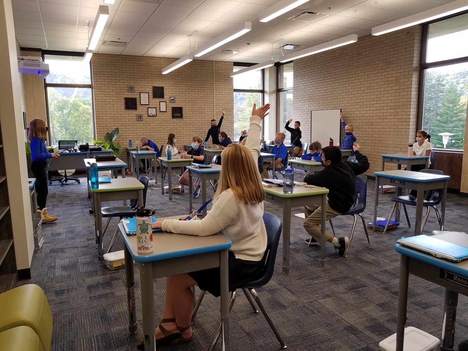 Students participate during class in the newly remolded classrooms in the John Nett Rec. building
