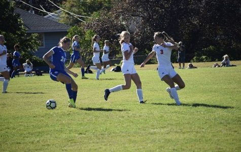Olivia Gardner handles the ball at a recent home game