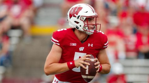 Sep 7, 2019; Madison, WI, USA; Wisconsin Badgers quarterback Graham Mertz (5) during the game against the Central Michigan Chippewas at Camp Randall Stadium. Mandatory Credit: Jeff Hanisch-USA TODAY Sports