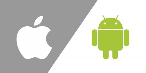 Apple and Android icons battle it out for control of the lucrative cellphone market