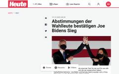 Joe Biden and Kamala Harris featured in an Austrian news headline