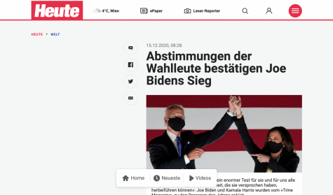 Joe Biden and Kamala Harris featured in an Austrian news headline