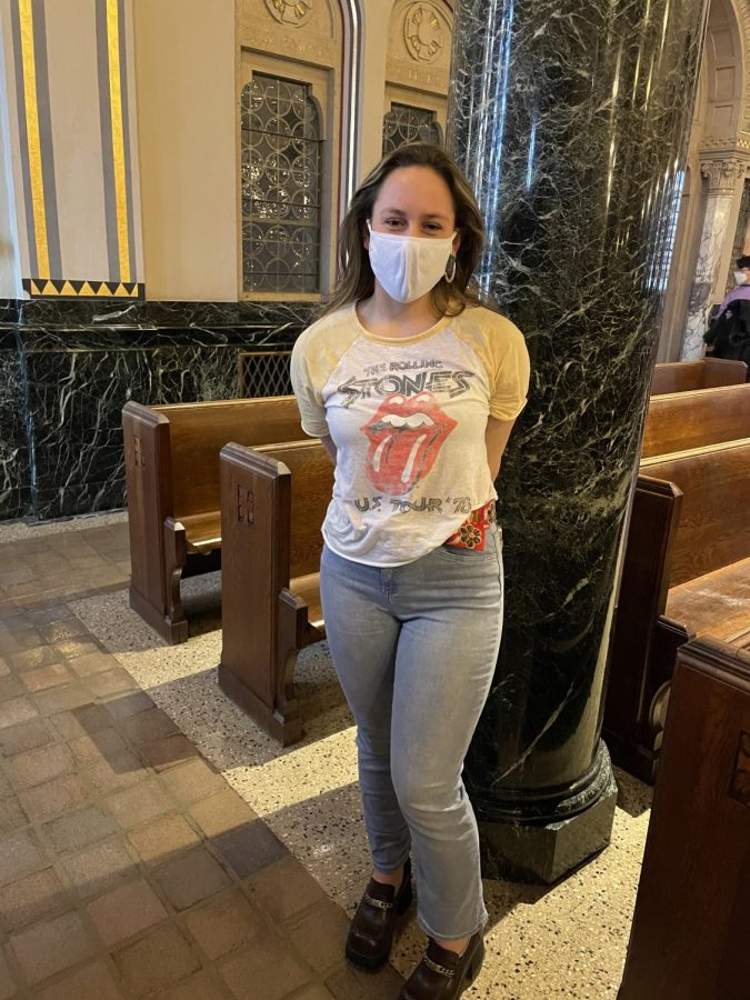 Not sucking in the 70s - Allie French in Rolling Stones shirt