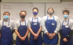Joe Costello. Ian Modjeski, Anthony Guzzo, Charlie Reilly, and Cale Beckman in their Midtown Foods work wear