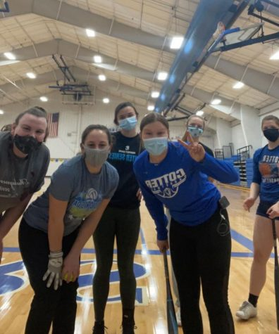 Members of the Cotter Softball team pose for a photo during open gym. L to R: Lexi Hadaway, alison French, Madison Hazelton, Hailey Biesanz, Abree Dieterman, Nadia Dieterman