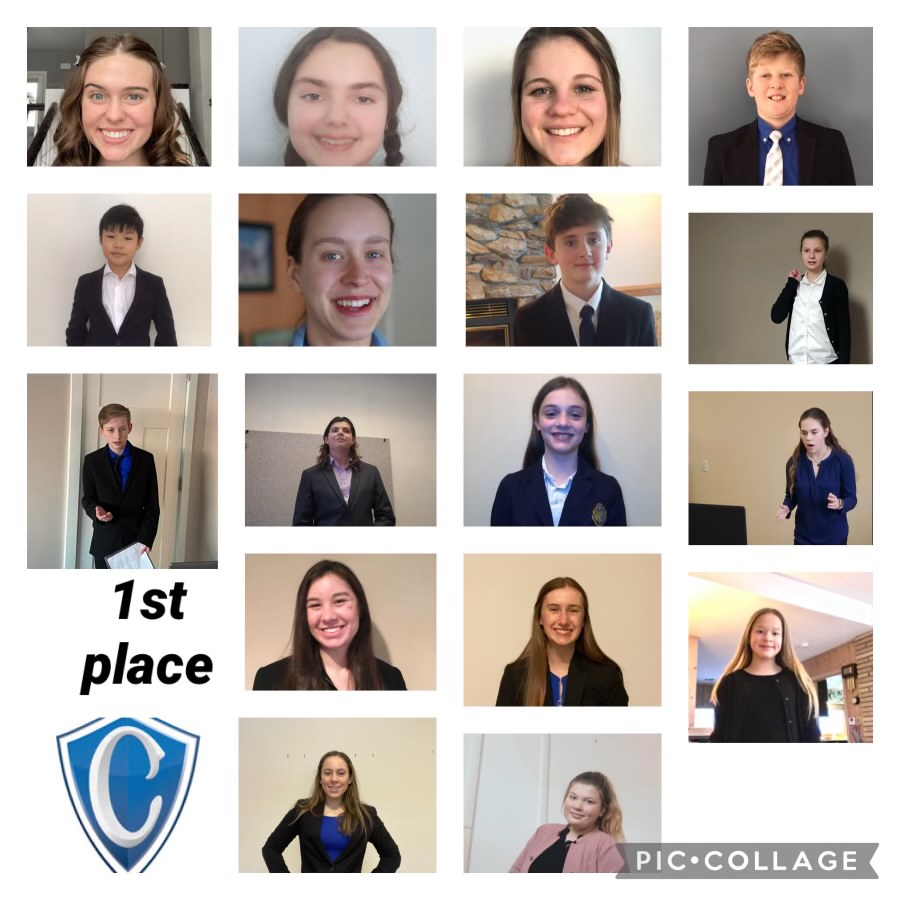 Members of the Cotter Speech team pose for a photo in order to celebrate a victory at a speech tournament from earlier this season.