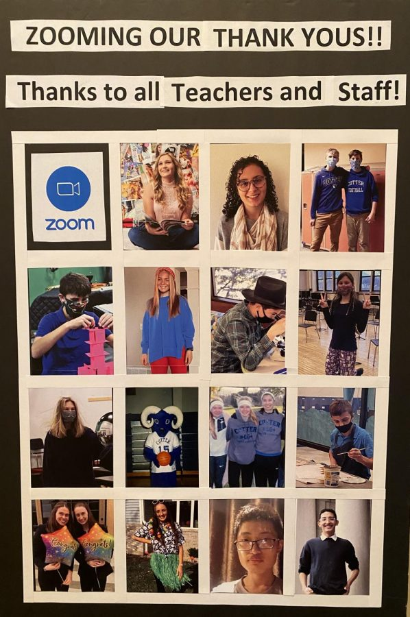 Poster of students honoring Cotter teachers displayed in the first floor hallway during Teacher Appreciation Week  in May