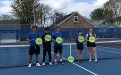 Tennis senior night honorees include Rob Besek, Edward Zhang, Ian Modjeski, Diego, Elain Zehr, Macy Devorak from left