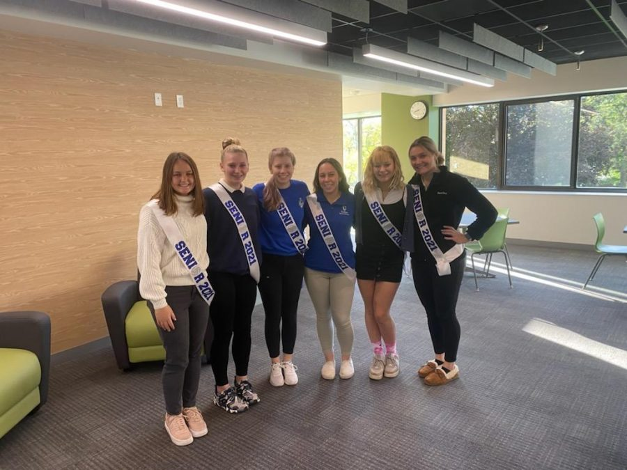 Andie T, Rachel M, Lexi D, Ali F, Madison R, Olivia B. sporting their sashes on senior night for volleyball.